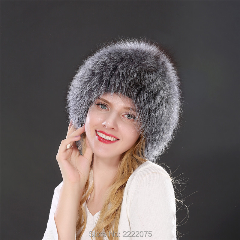 women winter fur hat genuine fox fur hats knitted silver fox fur caps female