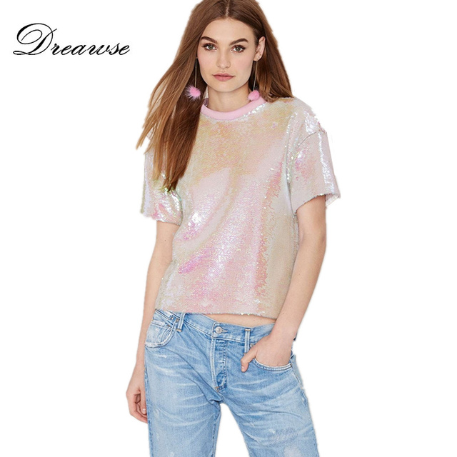 79f96a585c2 Dreawse Summer Women Short-Sleeve T-shirt Pink Shiny Sequined Female Europe  Loose Round Neck Casual Femme Plus Size Shirt DB431