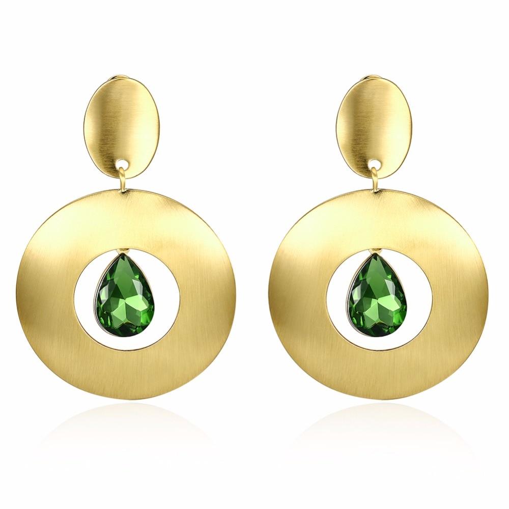 Green Stone Drop Earrings For Women Jewelry Trendy Gold Color Aaa Cubic  Zirconia Dangle Earrings Kzce169