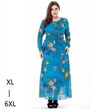 Осень большие размеры 6xl женщины макси платье богемский шифон напечатанный туника длинное платье осень случайная одежда для женщин, платья больших размеров