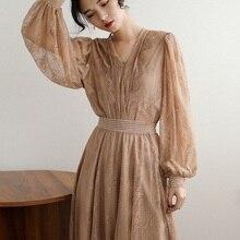 Ubei, весеннее Новое винтажное платье во французском стиле, феи, длинное кружевное платье цвета хаки, комплект для морского отдыха, комплект из двух предметов, платье, комплект