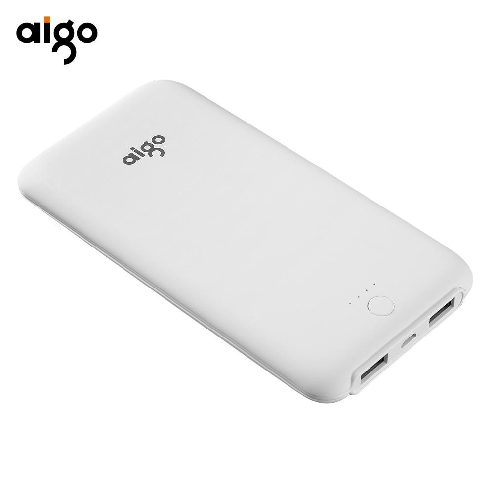 Aigo Power Bank 10000mAh External Battery Ultra Slim Dual USB Fast Charger Portable Powerbank for Iphone 6 6s 7 8 X for Xiaomi