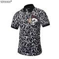 Newsosoo 2017 nuevo diseño de marca de estilo pop impreso carta cráneo camisa de polo hombres de la manera slim fit camisa de polo m-3xl pt1