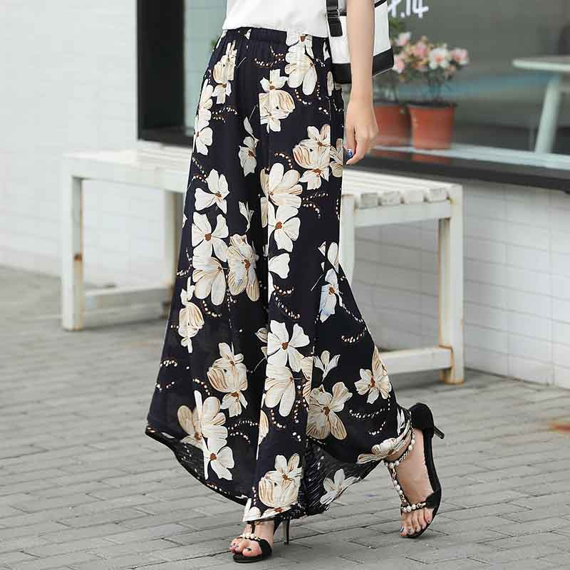 2019 summer runway casual harem flare high waist loose floral   Wide     leg     pants   women clothing print Vintage trousers plus size