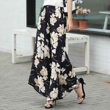 Floral Wide Leg Pants Women Clothing Vintage Trousers Print Harem Flare High Waist Loose Runway Casual 2019 Summer Plus Size