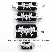 Aftermarket Free Shipping Chrome Wing Skull Zombie Emblem With Black Eye Series Foot Pegs Fit For