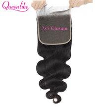 7x7 الجسم موجة الدانتيل إغلاق 150 الكثافة قبل التقطه مع الطفل الشعر الطبيعي شعري Queenlike البرازيلي شعر ريمي 7x7 إغلاق