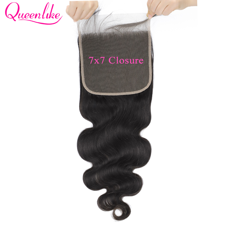 7x7 Body Wave Lace Closure 150 Density Pre Plucked With Baby Hair Natural Hairline Queenlike Brazilian Remy Hair 7x7 Closure