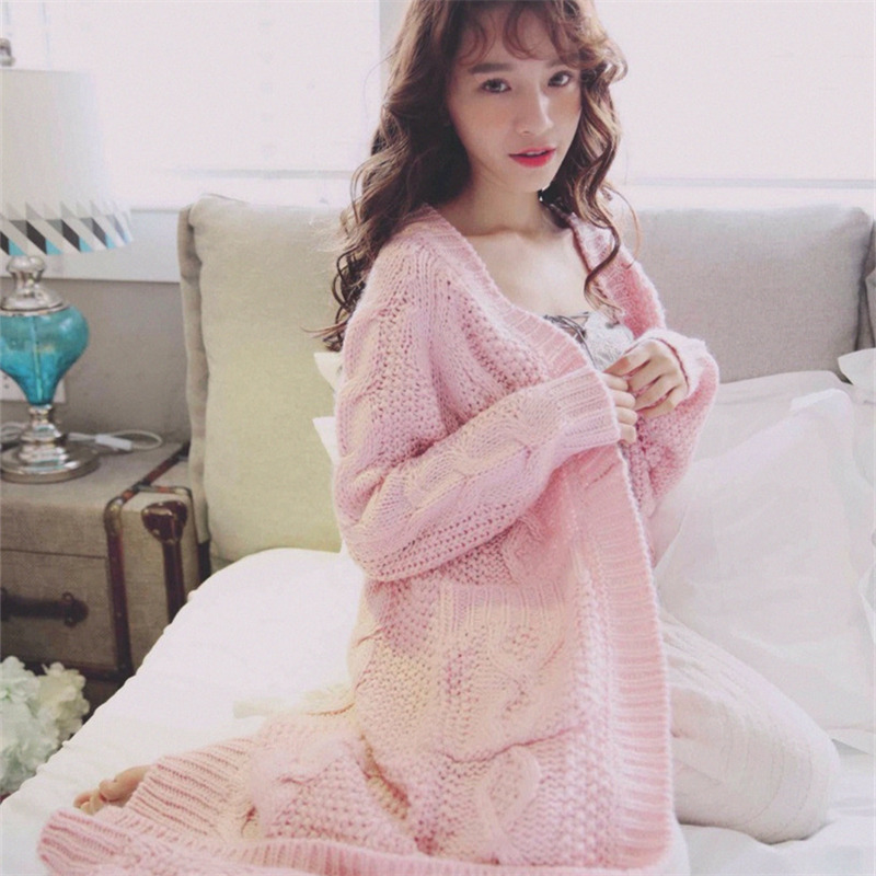 Air Conditioner House Loose Coat Robe 3 Color Autumn Sweater Home Soft Knit Pajamas Warm Sleepwear Nightwear