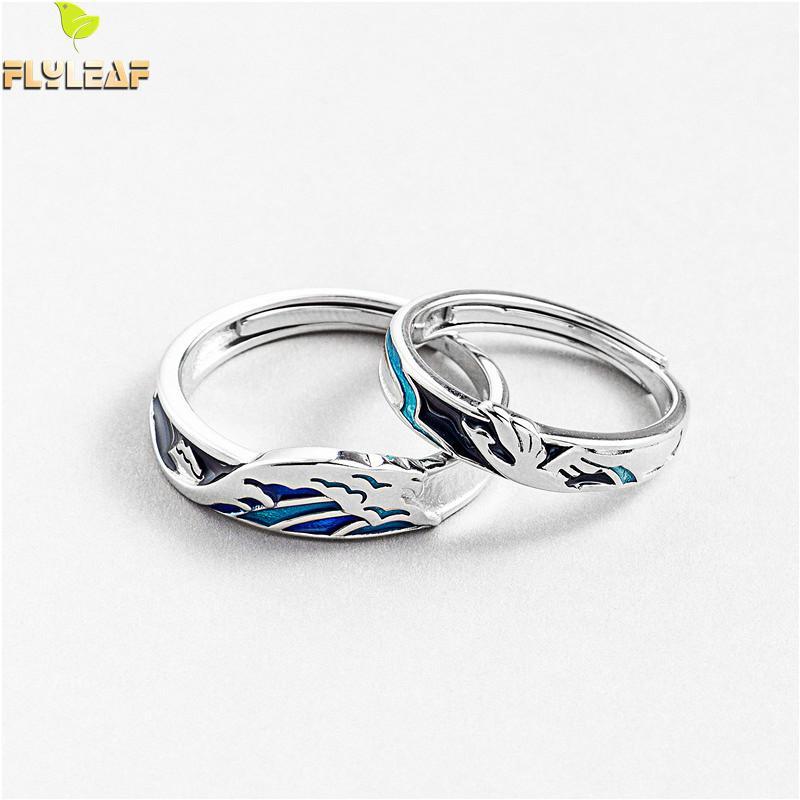 Flyleaf 925 Sterling Silver Enamel Drop Glaze Couple Rings For Male Women Fashion Fine Jewelry Lovers' Open Ring Men Adjustable