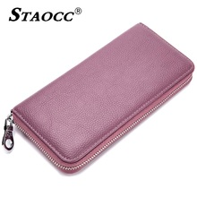Women Wallet Leather Solid Zipper Long Luxury Brand Female Clutch Purse Coin Purse 27Card Holder Men Phone Wallet Large Capacity