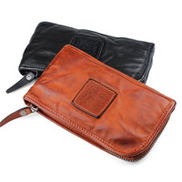 AETOO Original personality leather wallet men long section zipper purse cowhide leather Vintage Long Wallet Clutch Wrist