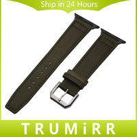 Canvas Nylon Genuine Leather Watchband For IWatch Apple Watch 38mm 42mm Series 1 2 3 Band