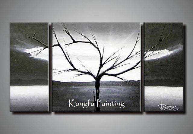 100 Hand Painted Black White Abstract Art 3 Panel Canvas Tree Wall High
