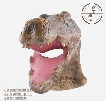 Export special headgear crocodile animal mask natural green latex head fish toys clothing store