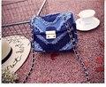 2017  fashion jean chain bag small denim women's handbag  one shoulder cross body messenger bag