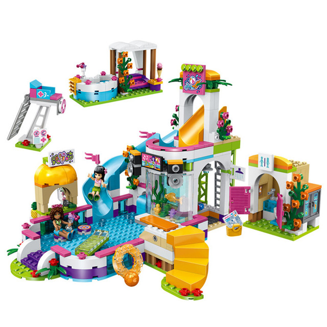 592pcs Legoings City Friend Princess dollhouse Heartlake Summer Pool Building Blocks Kit Toys Girl Birthday Christmas Gifts bela 10611 friend princess heartlake summer pool model building blocks bricks girl educational toys for children gifts 41313