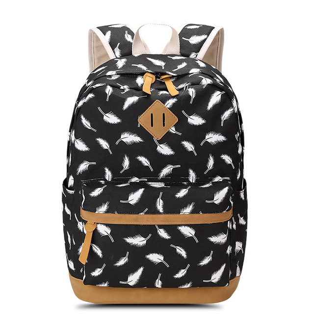 SUNBORLS Brand Female Feather Printing Backpack School Bag for Teenagers Laptop Bag Travel Canvas Backpack Women Rucksack