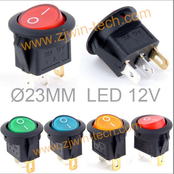 (20Pcs/4Models) 23mm Mini Round Rocker Switch 12V LED illuminated Car DIY Toggle switch ON-OFF Power Push Button yellow led on off rocker switch w terminal protector set for electric appliances 2 pcs