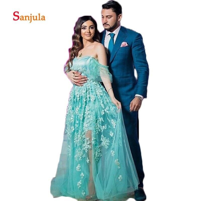 Turquoise Tulle a-ligne Saidi arabe robes de soirée robes 2019 chérie Appliques perlées luxe robes formelles perlées D990