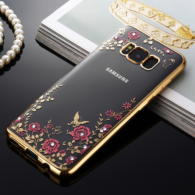 S8&S8 Plus Case Electroplating Rhinestone Secret Garden Flower Clear Case For Samsung Galaxy S8