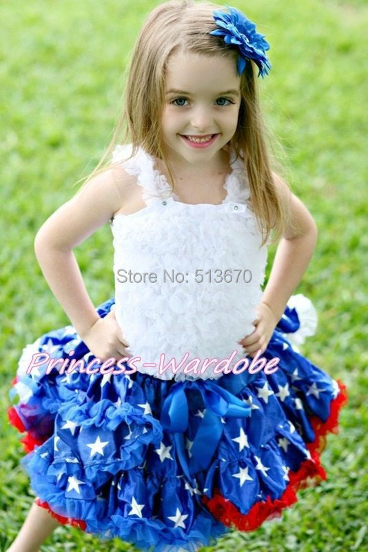 ФОТО 4TH JULY Red White Blue Patriotic Star Flag Pettiskirt White Ruffle Top Set 1-8Y MAMG1140
