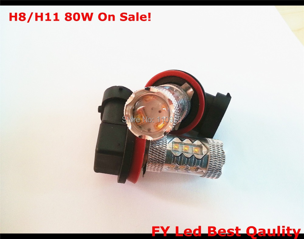 Free Shipping On Sale! White/Warm white H11 High Power Led Chip 80W Car LED Fog Lamp Automobile Light Bulb Vehicle Lights Source 1w 0 5w high power led lamp bulb pure white warm white 3 2 3 4v 100 120lm 30mil chip free shipping
