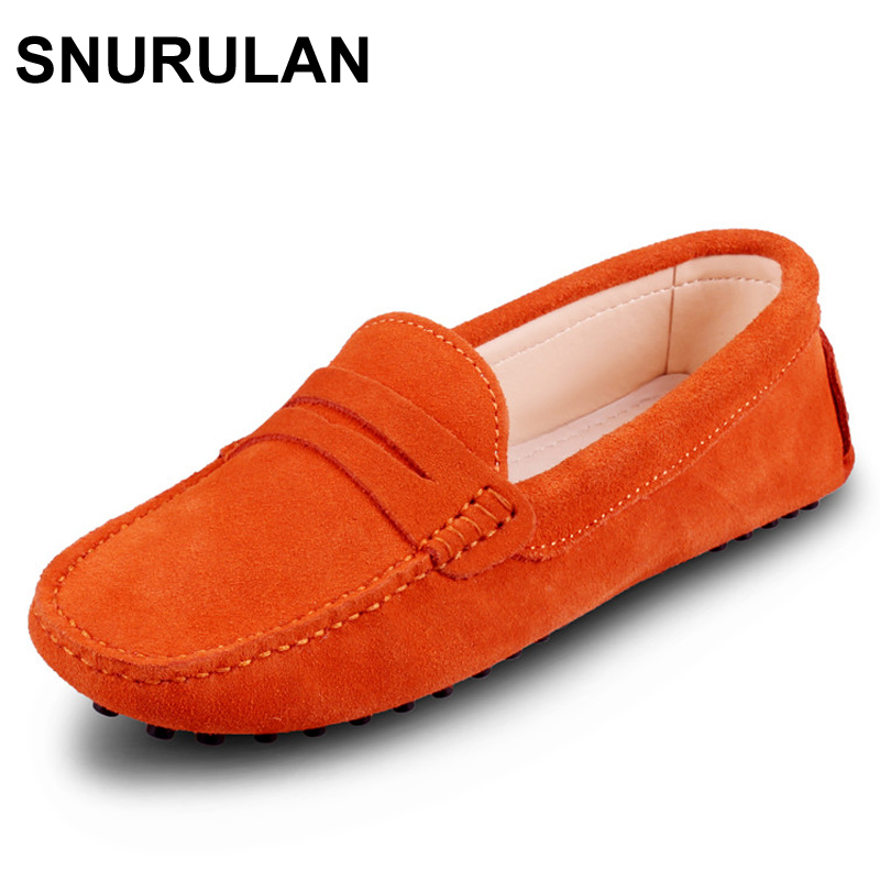 SNURULAN New Driving Loafers Women Flats Shoe 2017 Casual Soft Nubuck Leather Slip on Lady Moccasins Walking Boat Shoes uexia walking spring summer leather hand sewn men shoes casual footwear slip on designer luxury flats driving loafers moccasins
