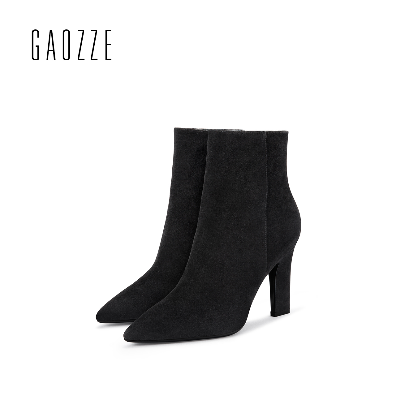 GAOZZE high heel ankle boots for women 2017 autumn new black suede leather ankle boots side zipper fashion pointed women boots цена и фото