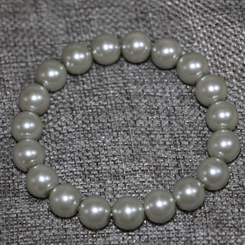 10mm round silver-color shell simulated-pearl beads bracelet high quality fashion cloth women elegant diy jewelry 7.5inch B2910