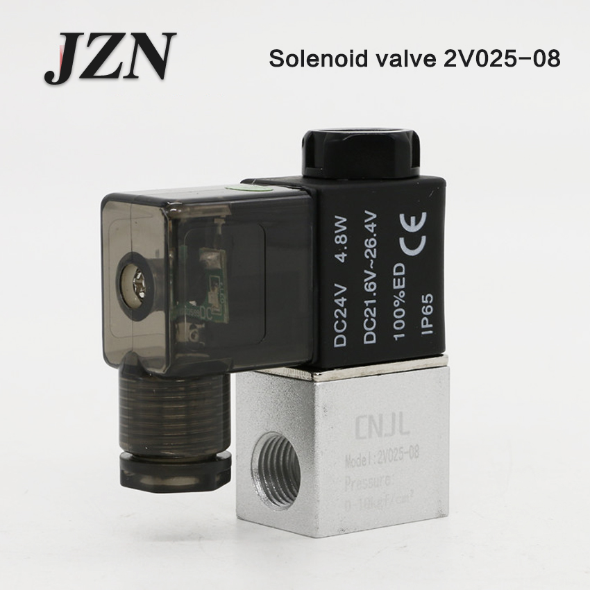 Pneumatic two-position two-way solenoid valve 2V025-08 into a DC24V valve switch AC220V normally closed 12V guide type brass solenoid valvula de agua2v250 25 two position two way normally closed solenoid valve g1 2 ac220v