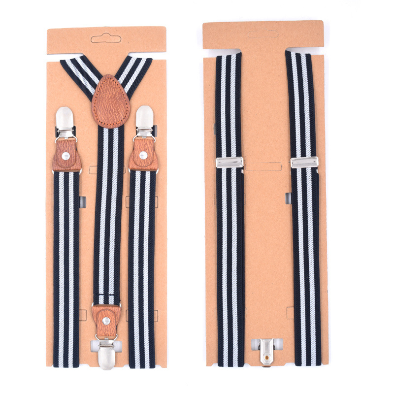 Adult 3 Clip Y Men's And Women's Straps Three Clips Brown Leather Head Casual Straps High Quality Suspenders Adjustable