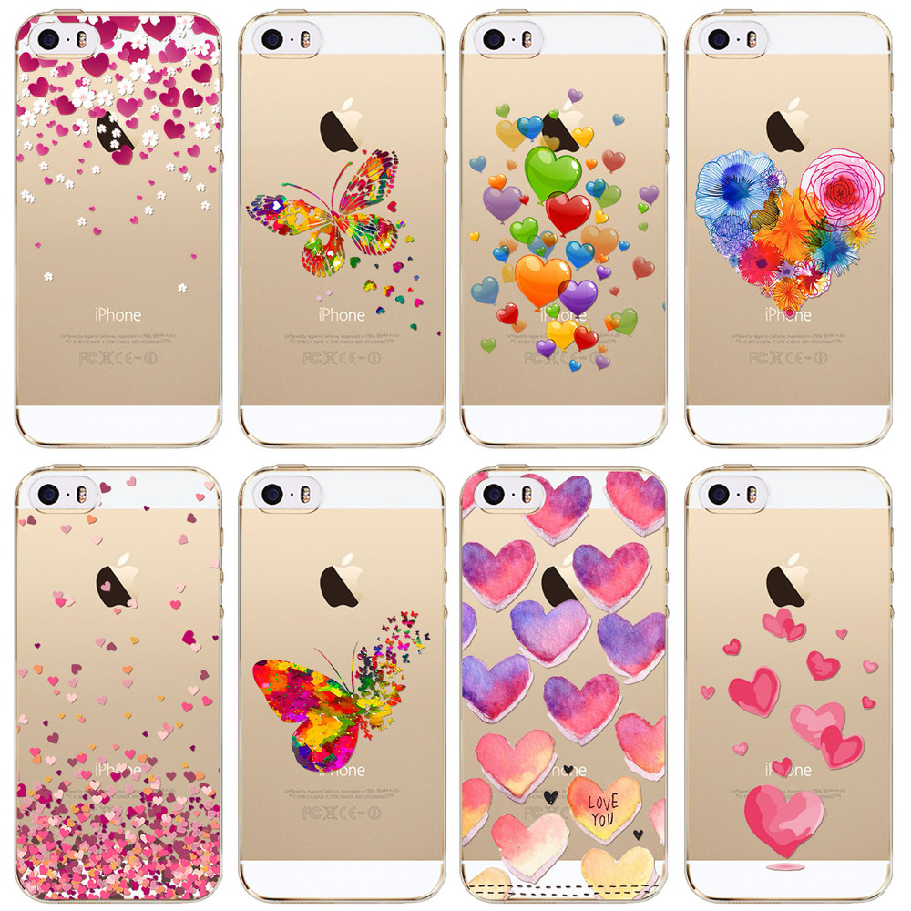Butterfly Love Hearts Pattern Transparent TPU Phone Case Cover For iPhone 5s 5 SE Girly Silicone