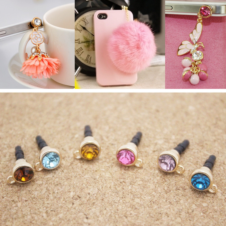 DIY Dust Plug with Hole Mobile Phone Accessories Colorful Crystal Anti Dust Plug Cap Covers 3.5mm universal Earphone Jack Plug