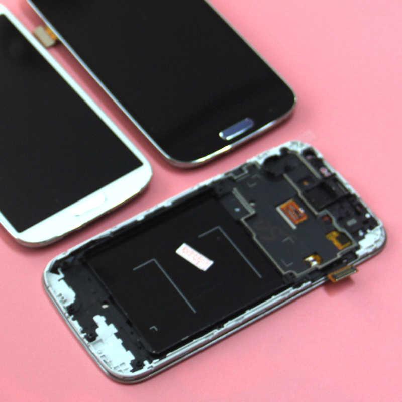 لا الميت بكسل S4 i9500 LCD شاشة متوافق لسامسونج غالاكسي S4 i9505 شاشة الكريستال السائل شاشة رقمية تعمل بلمس مع الجمعية الإطار