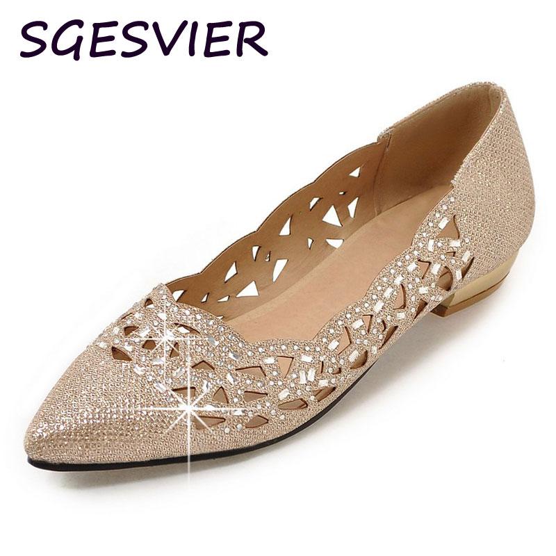 SGESVIER Woman Sexy Shining Rhinestones vamp hollowed vamp gold silver low heels night club pointed toe