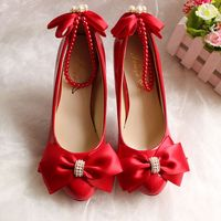 Red bow butterfly knot women shoes wedding party dinner princess NQ184 proms dress beading straps ladies bowtie shoes heel 5CM