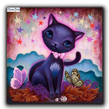 MOONCRESIN Diy Diamond Embroidery Purple Cat &Butterfly Diamond Mosaic Full Square Diamond Painting Cross Stitch Gift Decoration inverted purple butterfly print draw diamond drawing