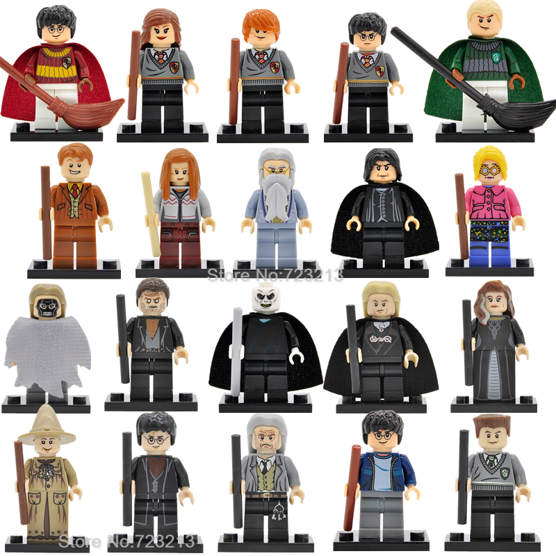 20pcs/lot Harry Potter Figure Set Hermione Ron Dumbledore Lord Voldemort Malfoy Model Building Blocks kits Brick Toys 2pcs lot harry potter series death eater mask halloween horror malfoy lucius resin masks toy private party cosplay toys gift