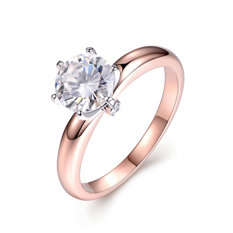 5 Carat Lab Grown Moissanite Diamond Solitaire Wedding Engagement Ring Solid 14K Rose White Gold solid 14k rose gold 100