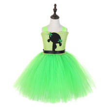 Green Power Puff Girls Cartoon Pattern Tutu Party Dress Super Girl Blossom Bubbles and Buttercup Easter Back to School Costumes