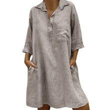 Casual Pocket Female Button Dress Solid Winter Women Dresses Girl Boho Turn-down Collar
