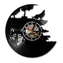 Wolf Pictures Vinyl Record Wall Clock Hollow Antique Style Hanging Black Creative Classic Handmade LED