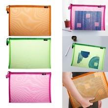 Document Bag A4 Gridding Waterproof Zip Bag Document Pen Filing Products Pocket Folder Office & School Supplies цены