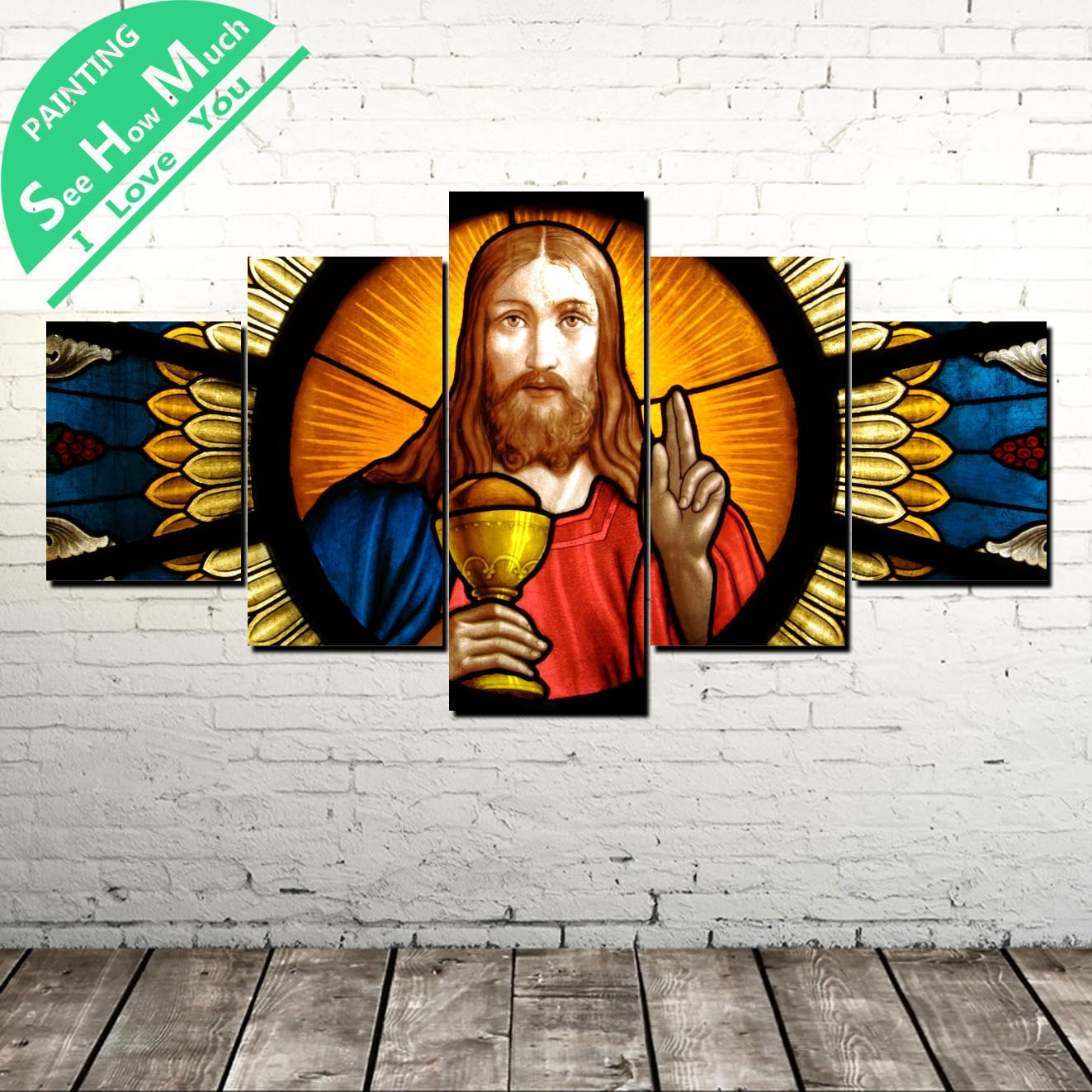 5 Piece Jesus Church Window Canvas Painting Wall art Picture Art Poster Decoration Modern Print