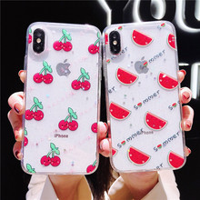 Summer Fruit Epoxy Phone case For iPhone 7 6 S 6S 8 Plus Back Cover Soft Silicone Transparent X XS MAX XR cases