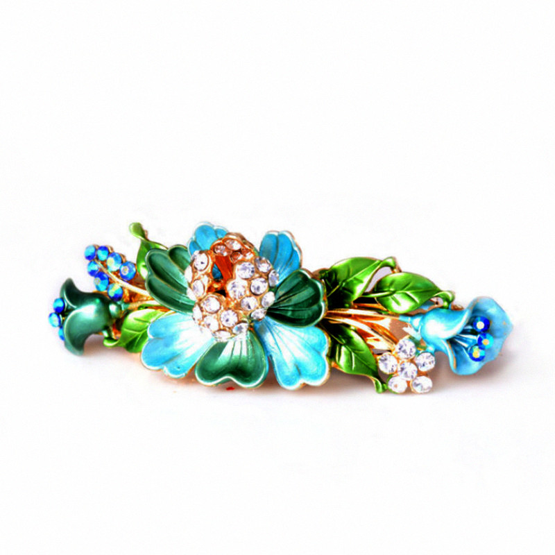 Vivid Beautiful Gold Color Barrettes Hair Jewelry Enamel Metal Rhinestone Flowers Hair Clip Bride Hair Wedding Accessories