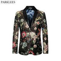 Chaqueta Blazer Floral para hombre de marca de lujo de 2019, chaqueta para hombre, chaqueta Casual para fiesta, traje de cantante, traje Homme 6XL