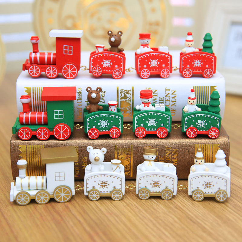 4 Pieces Christmas Wood Train Mini Christmas Train Wooden Train Model Vehicle Toys For Children New Year Xmas Decoration Gift