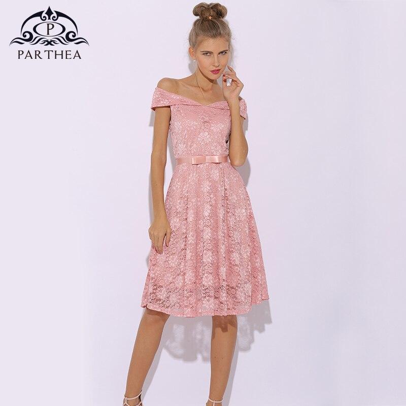 Parthea Vintage Lace Dress Women Elegant Pink Dress Floral Midi Summer Dress Party Sexy Dresses Skater Plus Size Vestidos 2018